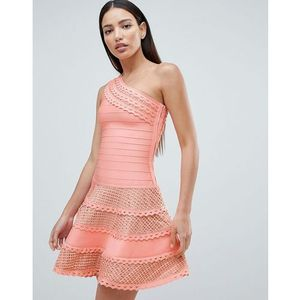 structured one shoulder skater dress with lace inserts - pink, Forever unique