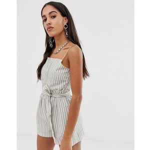 Bershka tie waist playsuit in stripe print - white