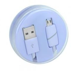 Partner tele.com Kabel micro usb box ring fioletowy