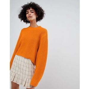 Weekday thick rib cropped jumper in orange - orange