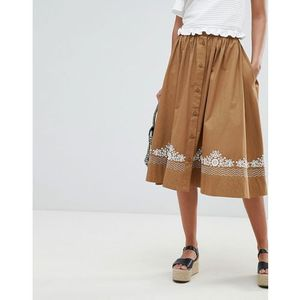embroidered midi skirt - brown marki French connection