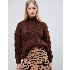 Mango oversized cable knit in chocolate in brown - Brown