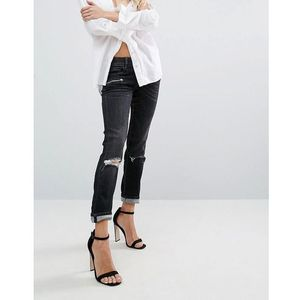 Replay super skinny mid rise biker jeans with zips and rips - black