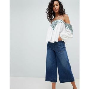 Free People Vacay Vibin Embroidered Cold Shoulder Blouse - White, w 2 rozmiarach