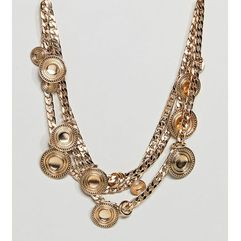 Asos curve Asos design curve statement coin and chunky chain multirow necklace - gold