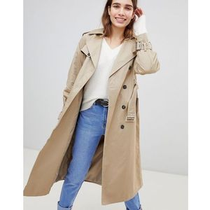 oversized mac trench coat - stone, New look