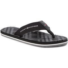 Japonki TOMMY HILFIGER - Corporate Stripe Beach Sandal FM0FM01366 Black 990, kolor czarny