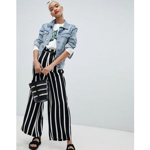 stripe wide leg paper bag trousers - multi, Pieces