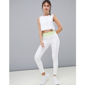 ASOS 4505 training legging with bonded waistband and laser cut technology - White