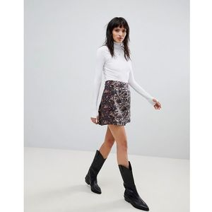 Free people mixed jacquard mini skirt - red