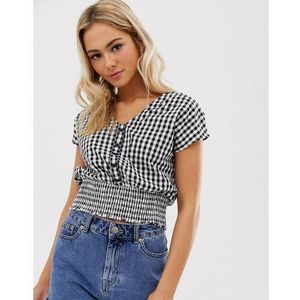 top with with shirred waist in gingham print - multi marki Pimkie