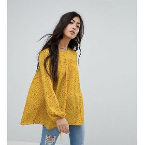 relaxed smock top in spot - yellow, Glamorous petite