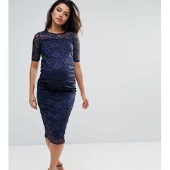 Bluebelle Maternity all over lace bodycon dress in navy - Navy, kolor szary