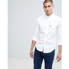 button down collar slim fit oxford shirt in white - white marki Abercrombie & fitch