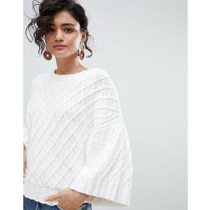 femme textured cropped jumper with kimono sleeves - white marki Selected