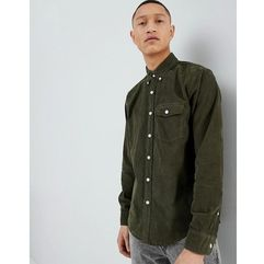 Abercrombie & Fitch Buttondown Fine Cord Shirt Regular Fit in Olive - Green, kolor zielony