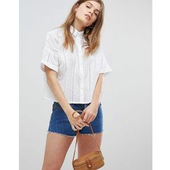 ASOS DESIGN Boxy Shirt in Broderie - White