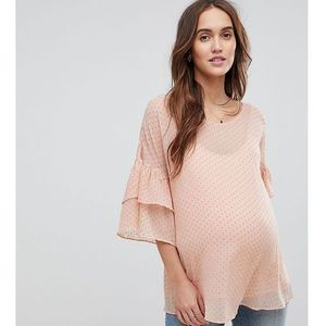Mamalicious flocked woven top with frill sleeve - pink marki Mama.licious
