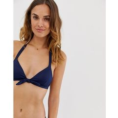 kitty knot front triangle bikini top in navy - navy marki Accessorize