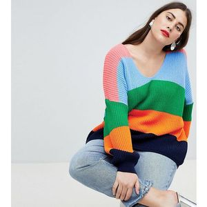 Asos curve Asos design curve oversized jumper in stripe with v neck - multi