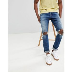 slim tapered jeans with open knee rips - blue marki Only & sons