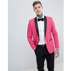 design slim tuxedo suit jacket in bright pink with black contrast lapel - pink marki Asos