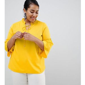 Junarose tie neck fluted sleeve blouse - Yellow