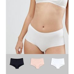 Asos 3 pack microfibre french knicker - multi, Asos design