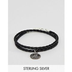 bracelet with sterling silver st christopher pendant - black marki Asos design