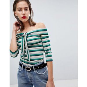 River island tie front off the shoulder stripe top - green