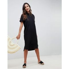 Asos design Asos casual midi shirt dress in linen - black