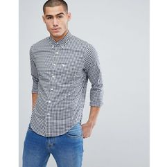 button down collar gingham poplin shirt slim fit moose logo in navy - navy marki Abercrombie & fitch