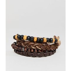 ASOS DESIGN Brown Leather And Beaded Bracelet Pack - Brown