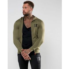 track zip up hoodie in khaki - green marki 11 degrees