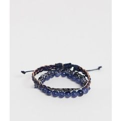 Asos design beaded bracelet pack in black and navy with semi precious stones - navy