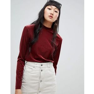 Weekday ribbed velvet high neck top in burgundy - Red