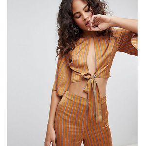drapey crop top with cut out front co-ord - orange, Fashion union tall