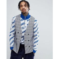ASOS DESIGN longline waistcoat in blue seersucker check - Blue, kolor niebieski