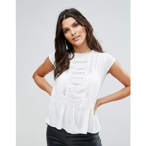 Zibi London Pep Hem Top With Lace Trim - White, kolor biały