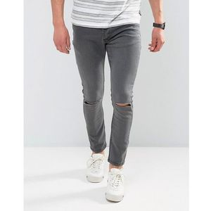 Brave soul skinny jeans with knee rips - grey