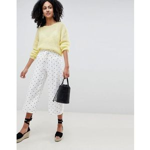 wide leg trousers with corset waist in spot print - white, Lost ink