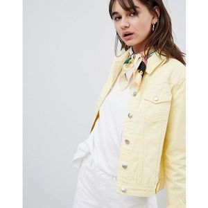Urban Bliss Distressed Trucker Denim Jacket - Yellow, kolor żółty