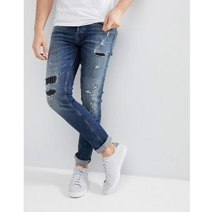 slim jeans with repair work - blue, Only & sons