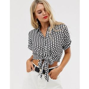 tie front shirt in spot - black, Glamorous