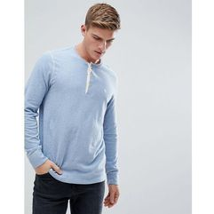 henley contrast placket long sleeve top logo in blue marl - blue marki Abercrombie & fitch