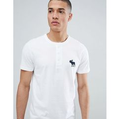 Abercrombie & Fitch large icon logo henley t-shirt in white - White