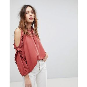 Current Air Ruffle Cold Shoulder Top - Orange, kolor pomarańczowy