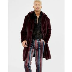 Asos design longline overcoat in faux fur - red