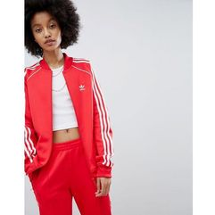 adicolor three stripe track jacket in red - red marki Adidas originals
