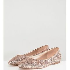 Asos design latch extra wide fit pointed ballet flats - gold